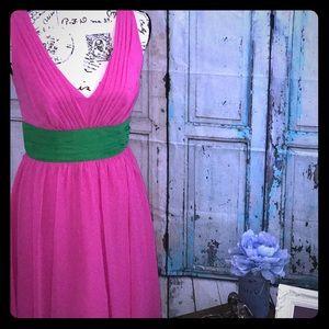 Custom Alfred Angelo fuchsia and shamrock dress
